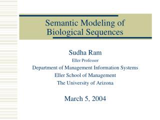 Semantic Modeling of Biological Sequences