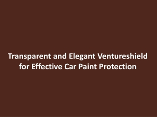 Transparent and Elegant Ventureshield for Effective Car Pain