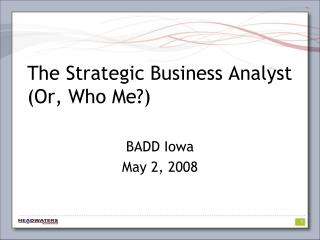 The Strategic Business Analyst Or, Who Me