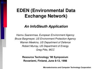 EDEN Environmental Data Exchange Network  An InfoSleuth Application