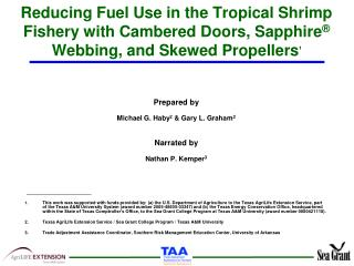 Reducing Fuel Use in the Tropical Shrimp Fishery with Cambered Doors, Sapphire  Webbing, and Skewed Propellers1