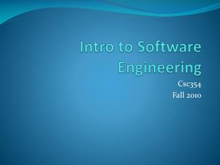 Intro to Software Engineering