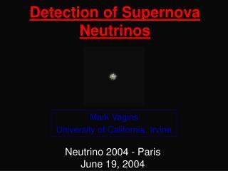 Detection of Supernova Neutrinos