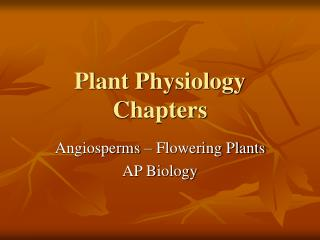 Plant Physiology Chapters