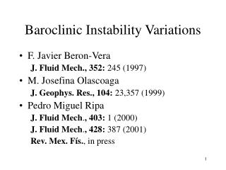 Baroclinic Instability Variations