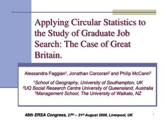 Applying Circular Statistics to the Study of Graduate Job Search: The Case of Great Britain.