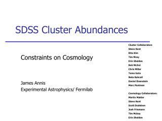 SDSS Cluster Abundances