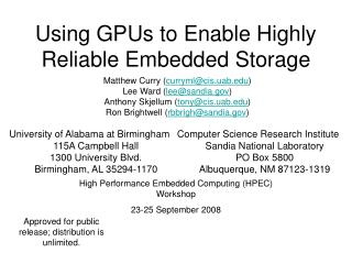 Using GPUs to Enable Highly Reliable Embedded Storage