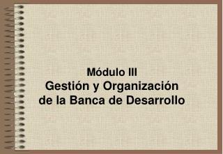 M dulo III Gesti n y Organizaci n  de la Banca de Desarrollo