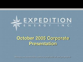 October 2005 Corporate Presentation