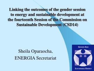 Sheila Oparaocha,ENERGIA Secretariat