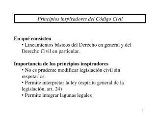 Principios inspiradores del Código Civil