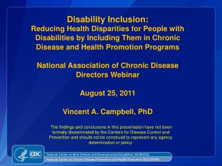 Disability and Health Program Mission