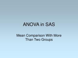 ANOVA in SAS
