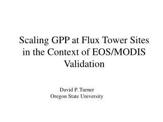 Scaling GPP at Flux Tower Sites in the Context of EOS