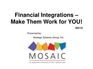 Financial Integrations   Make Them Work for YOU