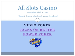 Il Jacks or Better Power Poker di All Slots Casino