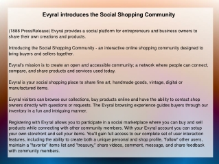 Evyral introduces the Social Shopping Community