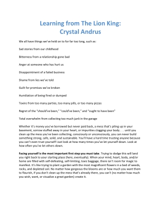 Learning from The Lion King: Crystal Andrus