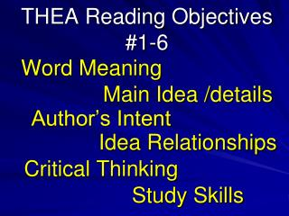 THEA Reading Objectives 1-6