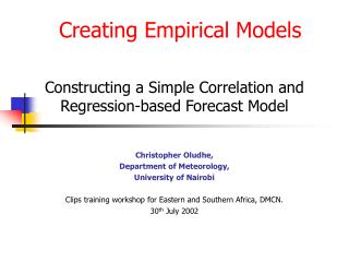 Creating Empirical Models
