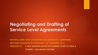 Negotiation and Drafting of Service Level Agreement
