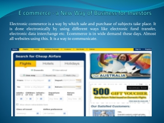 E commerce - a New Way of Business for Investors