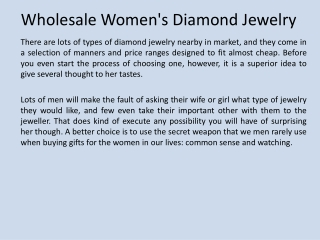 Wholesale Womens Diamond Jewelry