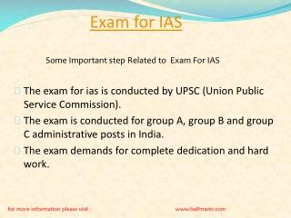 Some steps For Exam For IAS