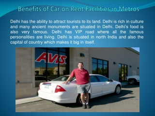 Benefits of Car on Rent Facilities in Metros