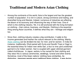 Traditional and Modern Asian Clothing