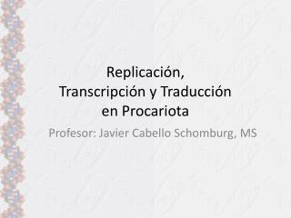 Profesor: Javier Cabello Schomburg, MS