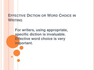 Effective Diction or Word Choice in Writing