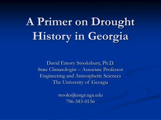 A Primer on Drought History in Georgia