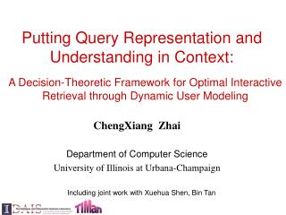 Including joint work with Xuehua Shen, Bin Tan