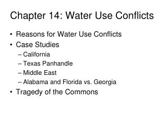 Chapter 14: Water Use Conflicts