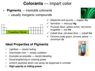 Colorants — impart color