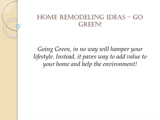 Thrifty and trendy green home remodeling contractor in San