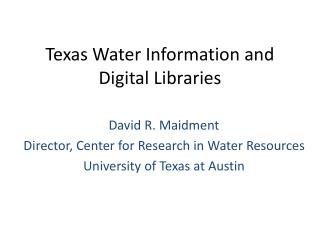Texas Water Information and Digital Libraries