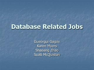 Database Related Jobs