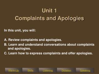 Unit 1  Complaints and Apologies