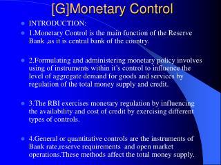[G]Monetary Control