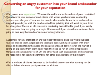 Converting an angry customer into your brand ambassador for