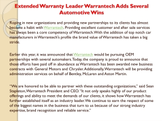 Extended Warranty Leader Warrantech Adds Several Automotive