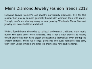 Mens Diamond Jewelry Fashion Trends 2013