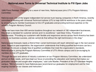 NationaLease Turns to Universal Technical Institute to Fill