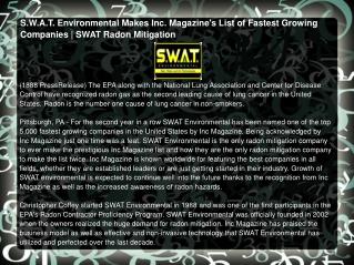 S.W.A.T. Environmental Makes Inc. Magazine's List of Fastest