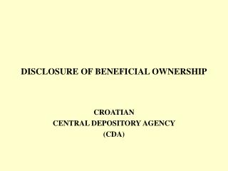 DISCLOSURE OF BENEFICIAL OWNERSHIP