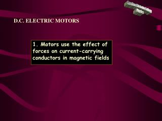 D.C. ELECTRIC MOTORS