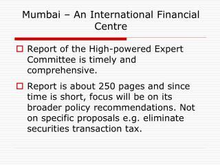 Mumbai – An International Financial Centre